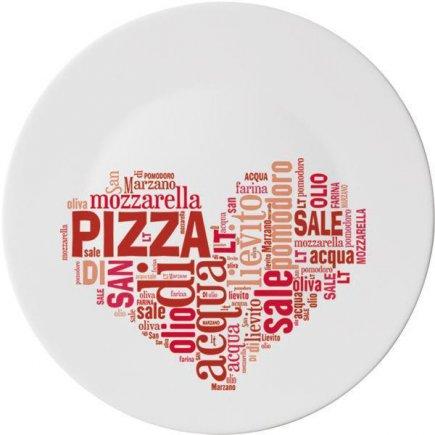 Talíř na pizzu 33 cm, červený motiv Love, tvrzené sklo, profi výrobek, Bormioli Rocco